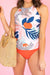 Abstract Floral Double-Cinch Tankini Set