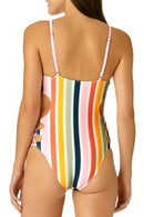 Juniors Baja Stripe Cut Out One Piece