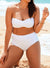 VALENTINE WHITE BANDEAU BIKINI WITH SHIRRED BRIEF
