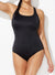 CHLORINE RESISTANT BLACK X-BACK ONE PIECE SWIMSUIT