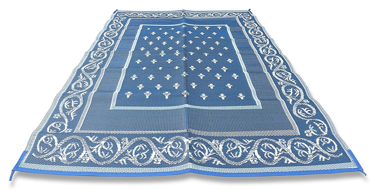 Redwood Mats Patio Mat 9 X 12 Blue Rv Mat Reversible Outdoor Rug
