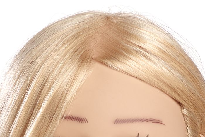 MANNEQUIN HEAD TANJA - 20 cm/8 inch european human hair, platinum blond, stitched from cowlick