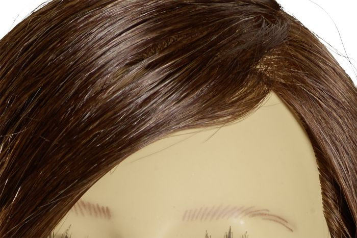 MANNEQUIN HEAD NICOLA - 35 cm/14 inch indian human hair, dark blond, stitched from cowlick