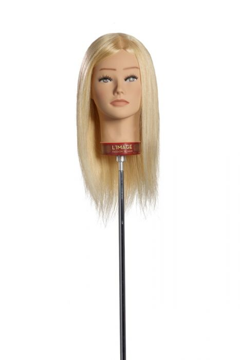 MANNEQUIN HEAD KATHRIN - 35 cm/14 inch european human hair, platinum blond, stitched from cowlick