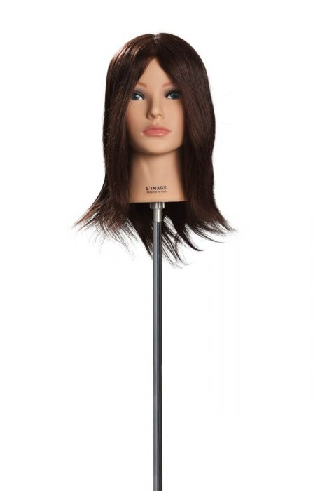 MANNEQUIN HEAD ALICE - 30 cm/12 inch indian human hair, dark blond, stitched from cowlick