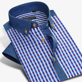 Short Sleeve Plaid Striped Shirts Men Deep Color Casual Slim Fit