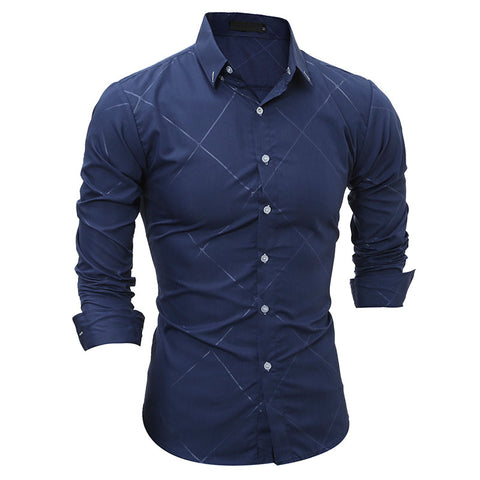 Fashion Classic Embossed Striped Shirts Long sleeve Slim Fit