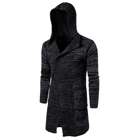 New Sweater Men Fashion Single Button Hooded Long Cardigans