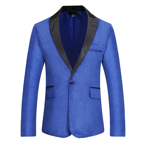 Velvet Blazer Men Patchwork Collar Single Breasted