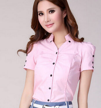 New Fashion Solid Color Office Lady Trendy Short Sleeve Summer Shirts