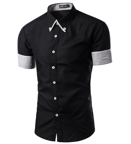 Cotton Polyester Regular Shirt Spring Mens Fashion Hit Color Short Sleeved