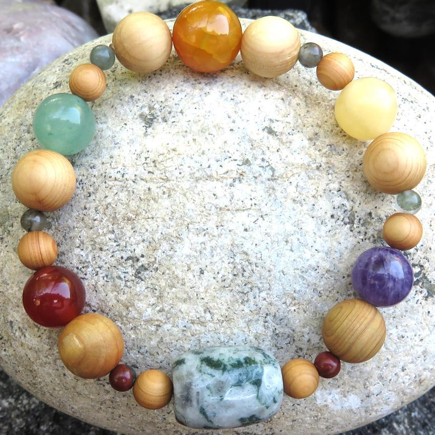 Aromatherapy Diffuser Bracelet with Cedar Wood Beads, Agate, Carnelian, Green Aventurine, Amethyst, Jade - new path in life... - Heavenly Skin HQ