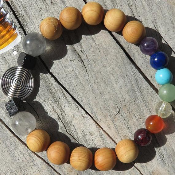 Best Natures all Natural Aromatherapy, 7 Chakra, Cedar wood Beads DIFFUSER BRACELET - Heavenly Skin HQ
