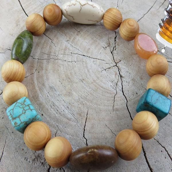 Best Natures all Natural Aromatherapy Bracelet with Cedar Wood Beads, Turquoise Howlite, ant other semi precious stones ... - Heavenly Skin HQ