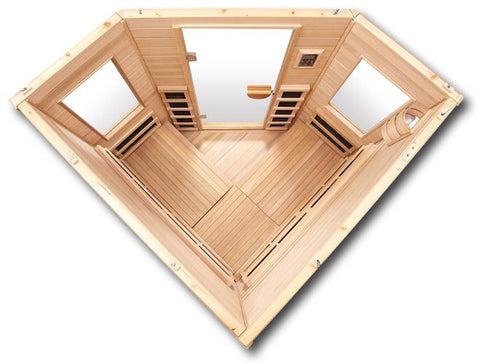Image of Clearlight Premier IS-C Three Person Far Infrared Corner Sauna - Heavenly Skin HQ