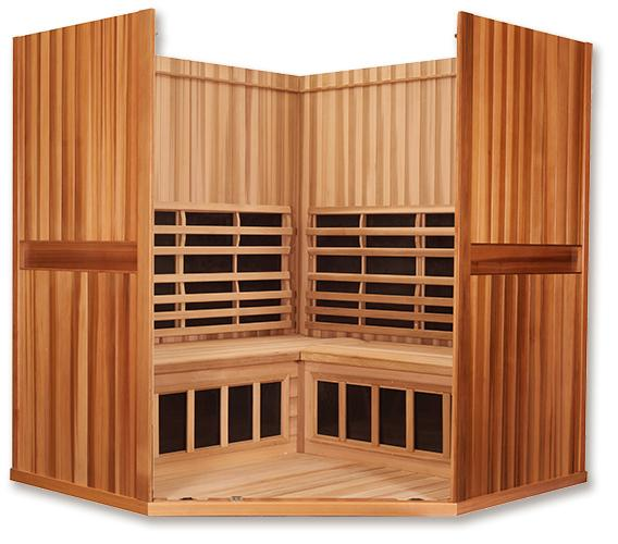 Clearlight Sanctuary C Four Person Full Spectrum Infrared Corner Sauna - Heavenly Skin HQ
