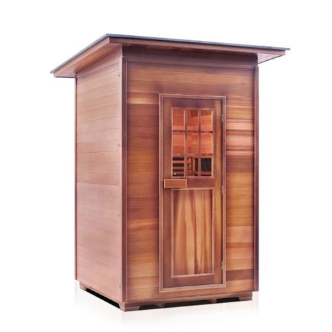 Image of Enlighten Sierra Slope Roof- 2 Person Full Spectrum Outdoor Infrared Sauna - Heavenly Skin HQ
