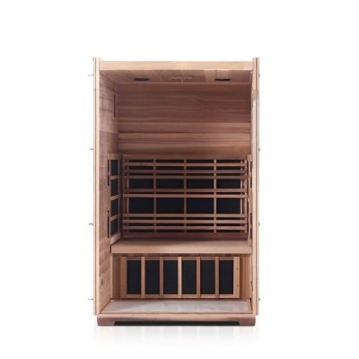 Enlighten Sierra Slope Roof- 2 Person Full Spectrum Outdoor Infrared Sauna - Heavenly Skin HQ