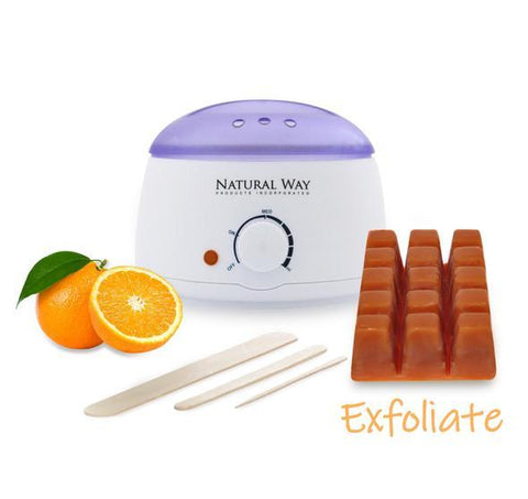 "Hard Wax Warmer Kit ""Orange Essential Oil Formula"" Pound 16oz/453g 100% Natural - Heavenly Skin HQ"