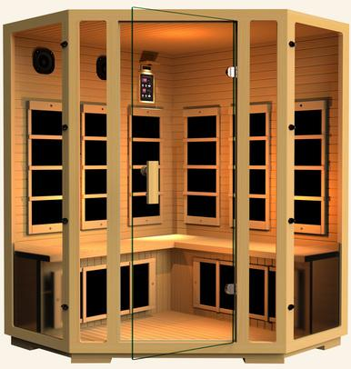 Image of JNH Lifestyles Joyous Corner 4 Person Infrared Sauna Fall Sale (Save $850) - Heavenly Skin HQ