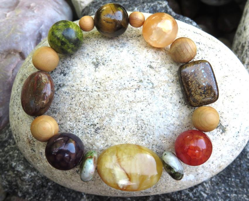 Natural Aromatherapy Bracelet with Cedar Wood Beads, and semi precious stones ... - Heavenly Skin HQ