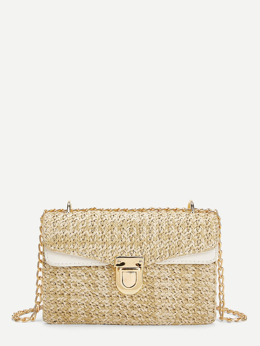 Elina Weave Detail Chain Crossbody Bag - Lavand Stories