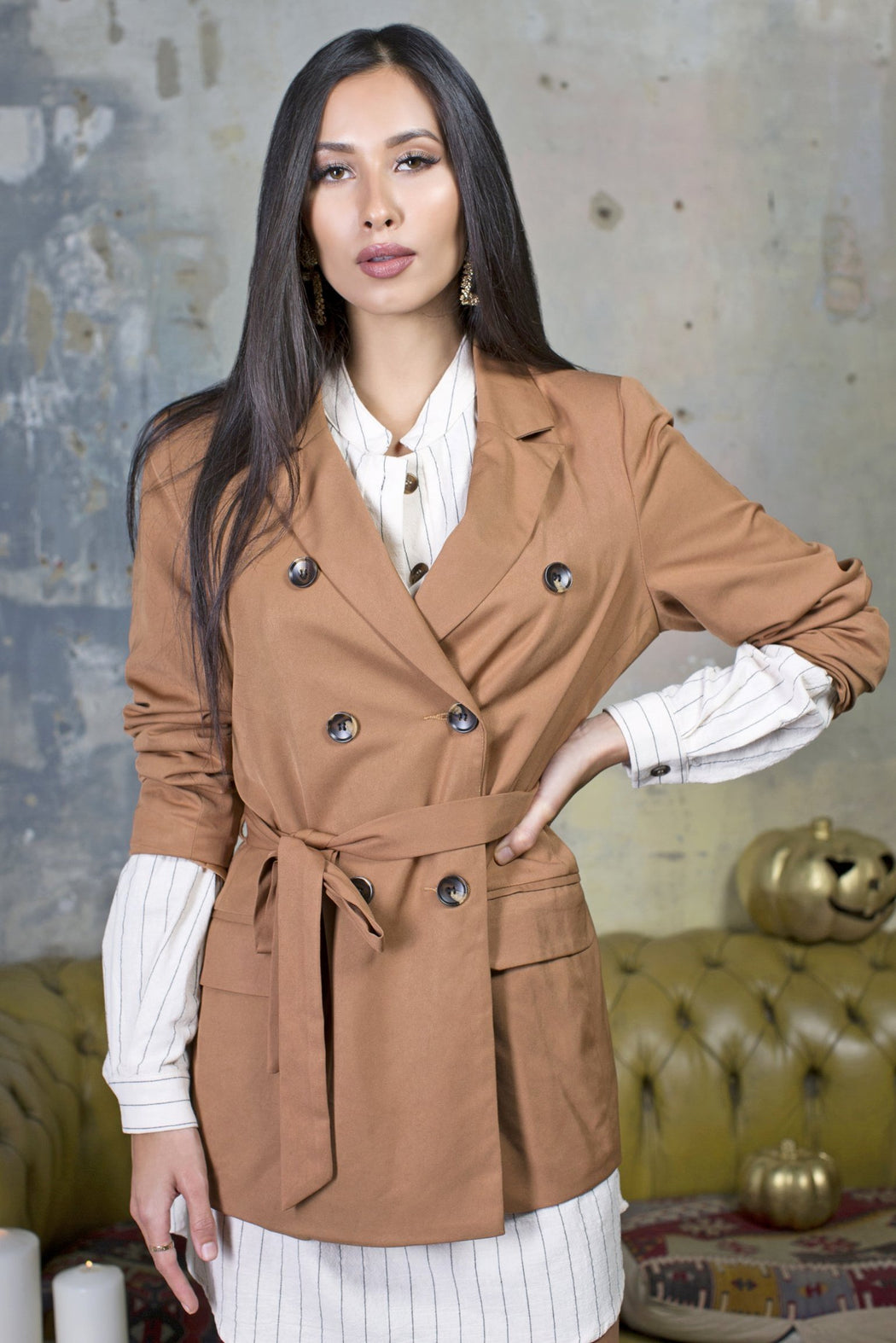 Kelly Caramel Double Breasted Blazer - Lavand Stories