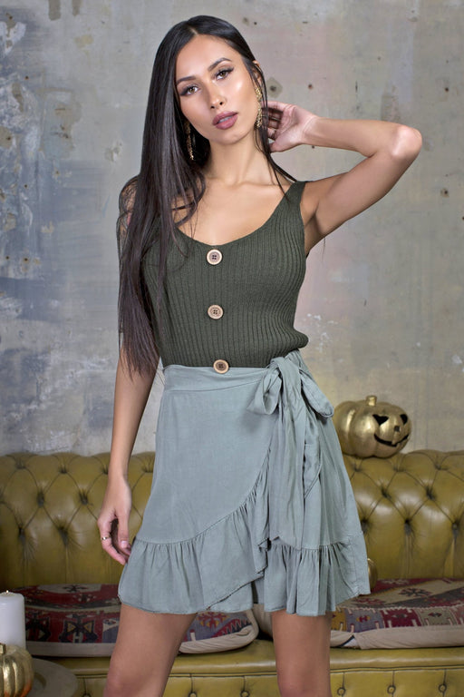 Polly Khaki Knit Tank Top