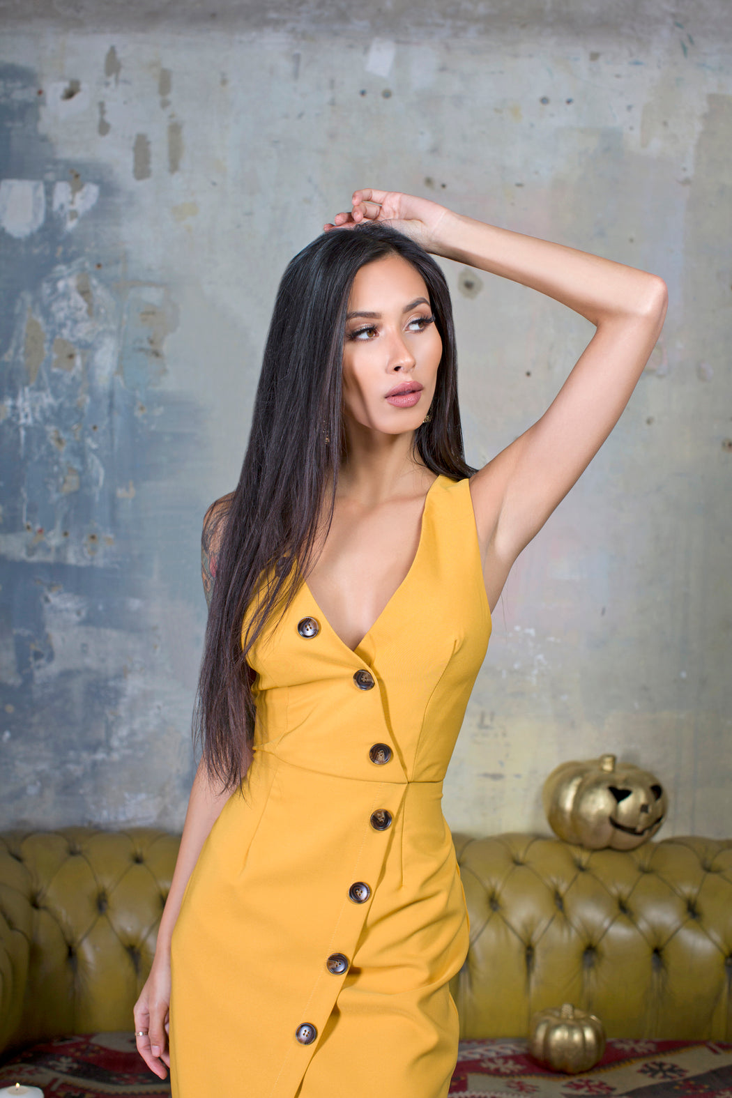Lyla Mustard Buttoned Down Midi Dress - Lavand Stories