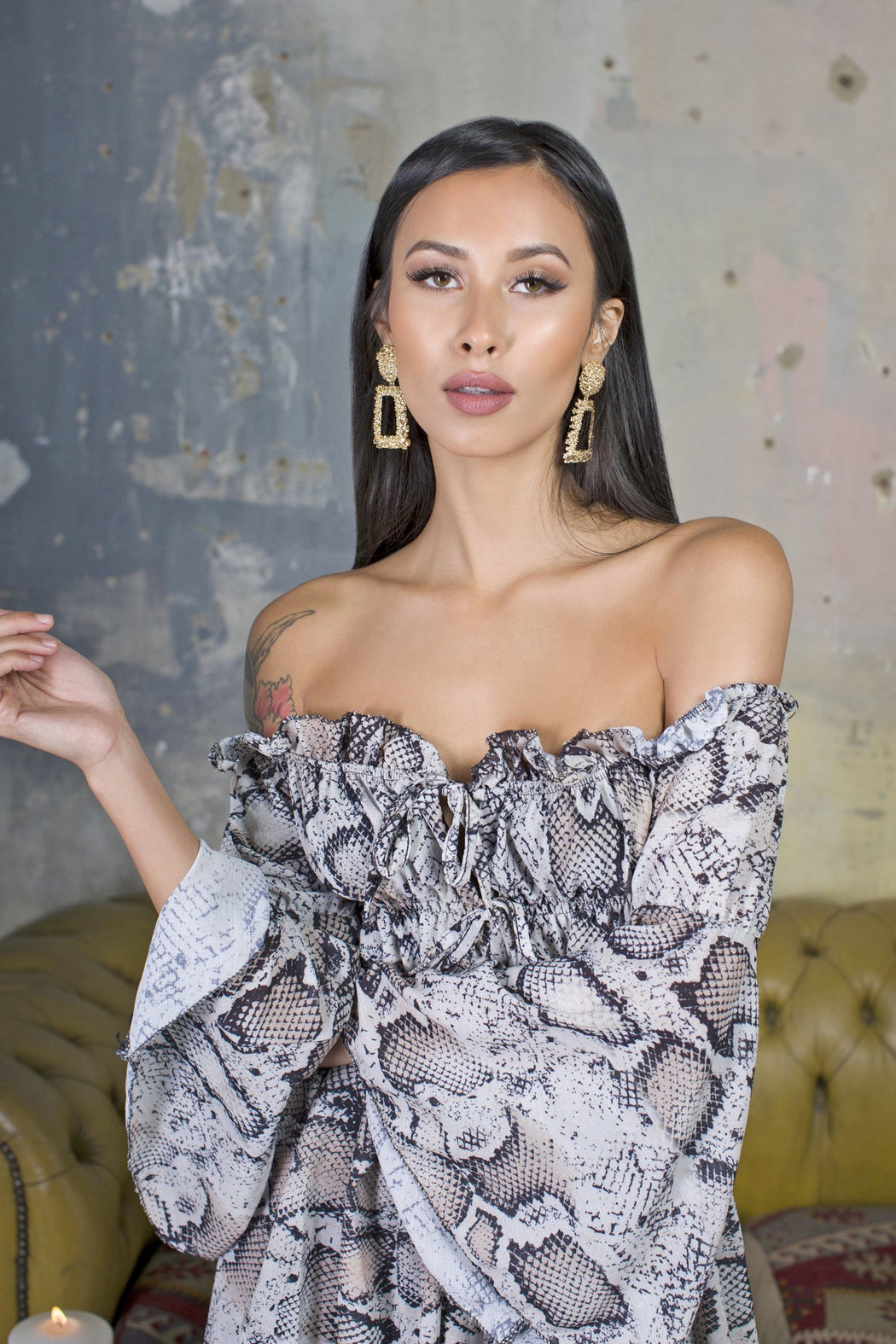 Reena Snake Print Off Shoulder Playsuit - Lavand Stories