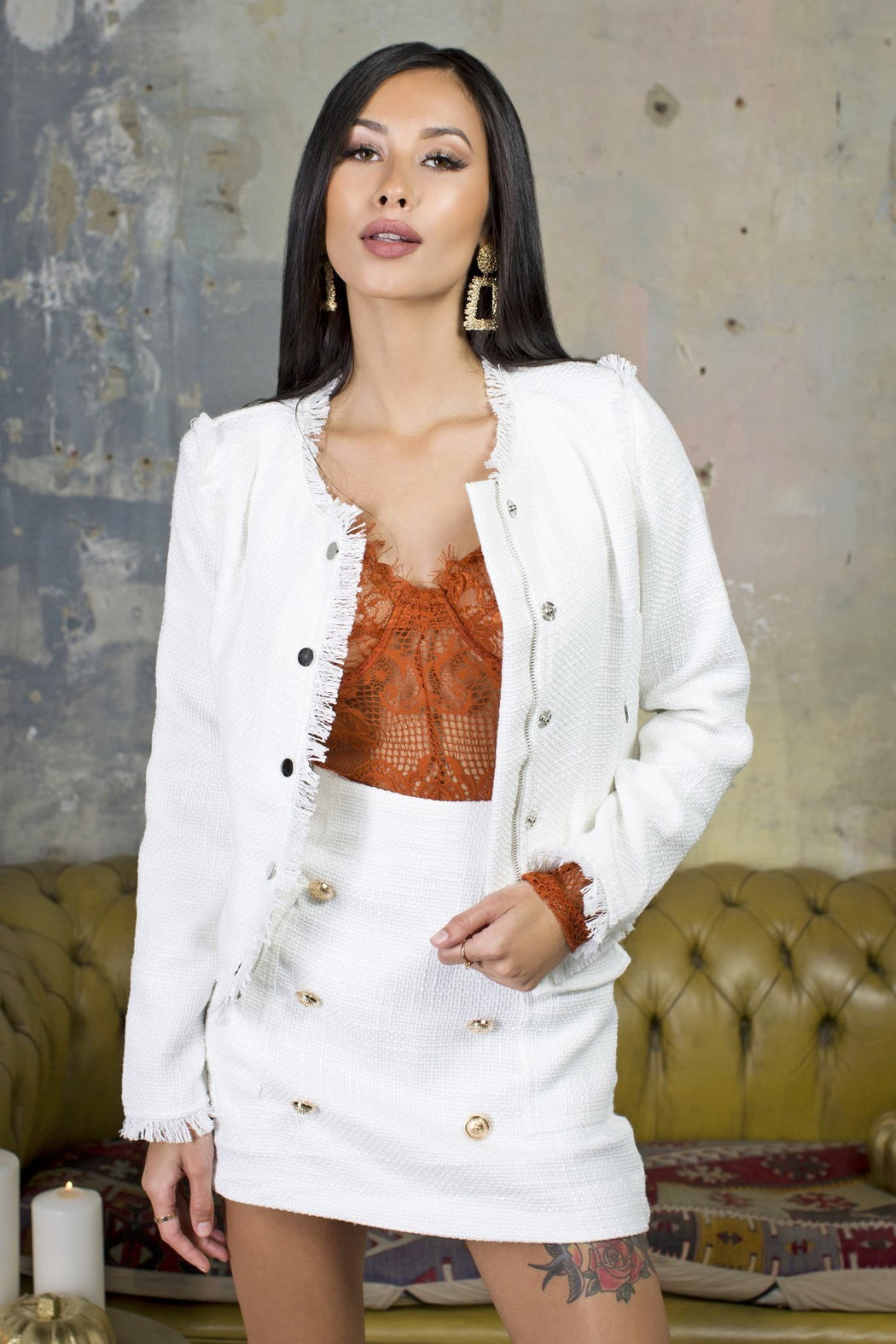 Khloe White Tweed Jacket - Lavand Stories