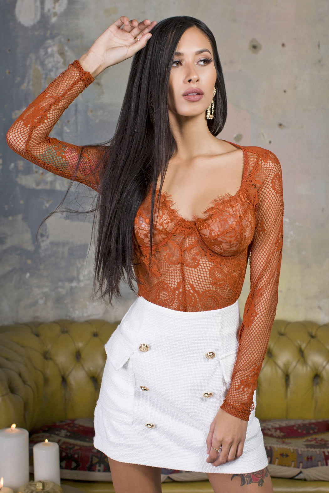 Off-Duty Lace Burnt Orange Bodysuit
