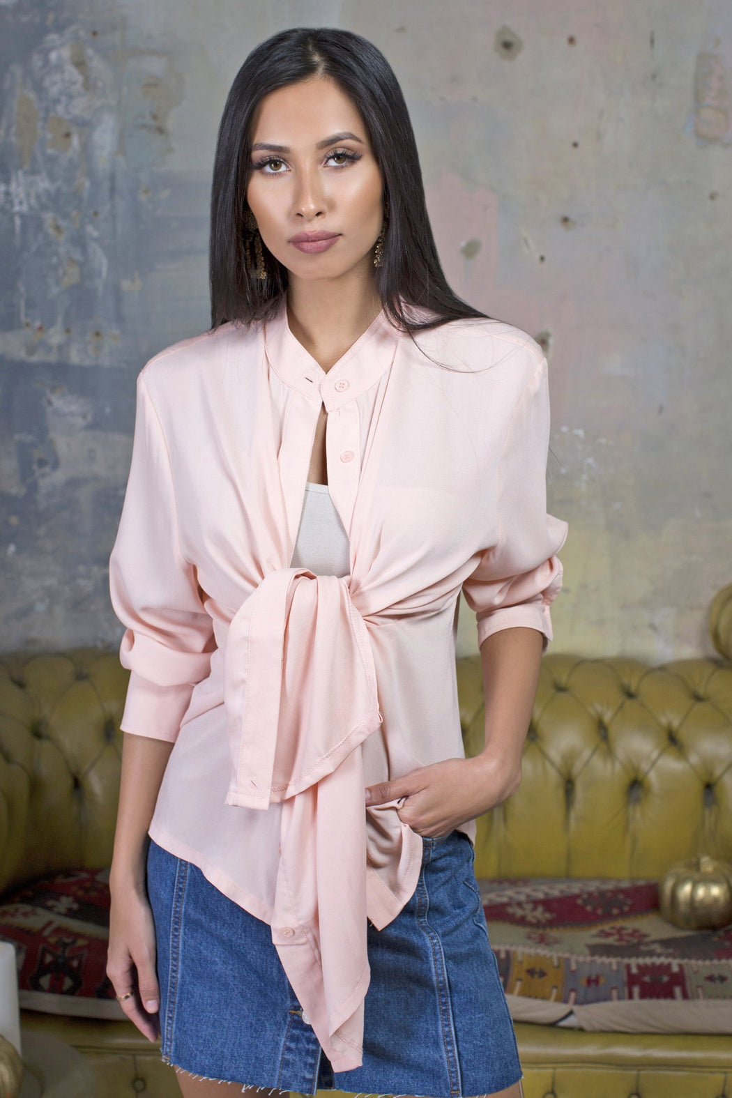 Sasha Pink Multi Wrap Shirt - Lavand Stories