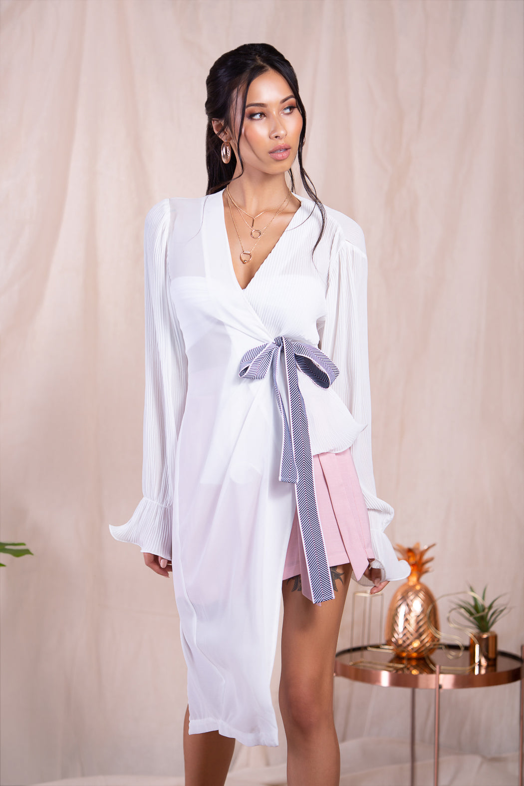 Shirin White Pleated Tie Blouse - Lavand Stories