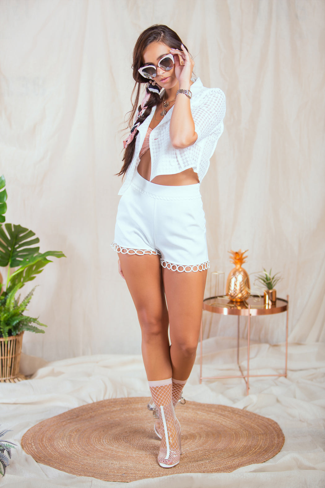 Azara White Hoop Trim High Waisted Shorts