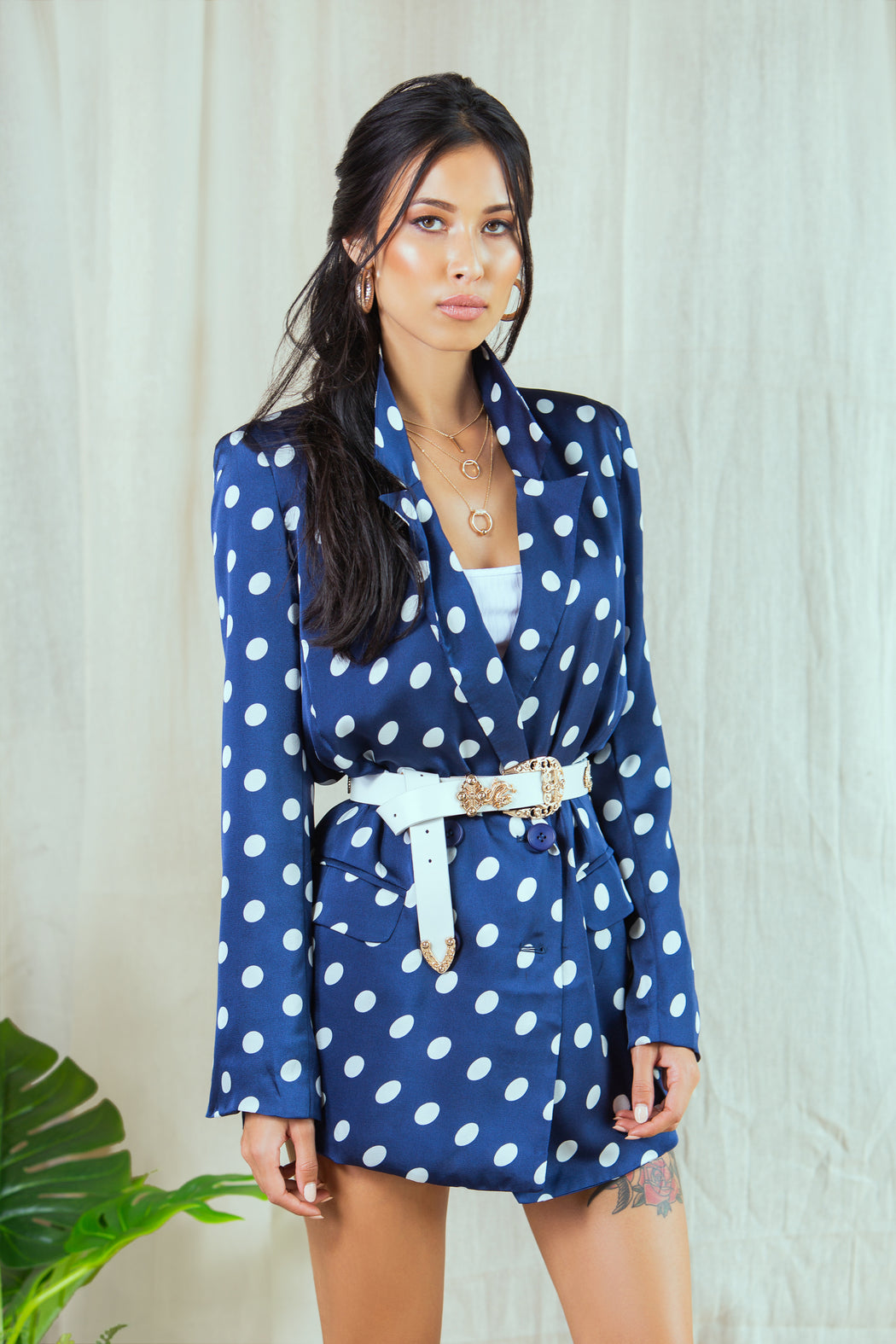 Juliet Navy Longline Polka Dot Blazer - Lavand Stories