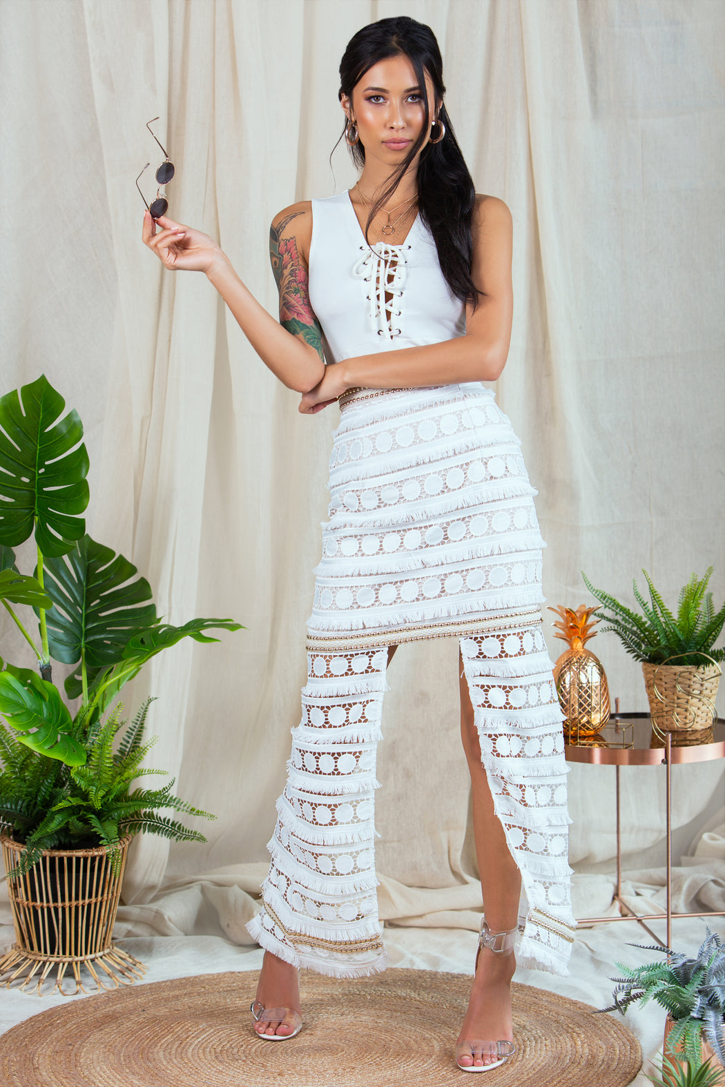 Santorini Embroidered Lace Skirt - Lavand Stories