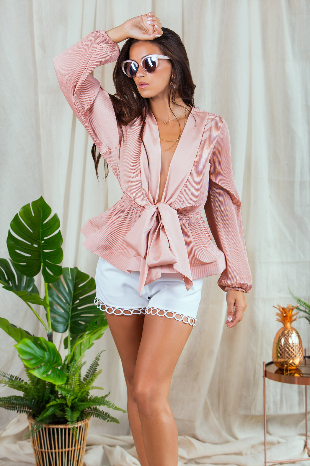 Parry Peplum Pink Pleated Blouse - Lavand Stories