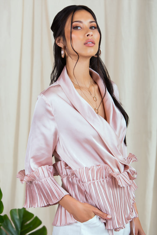 Bahareh Nude Ruffle Blouse - Lavand Stories