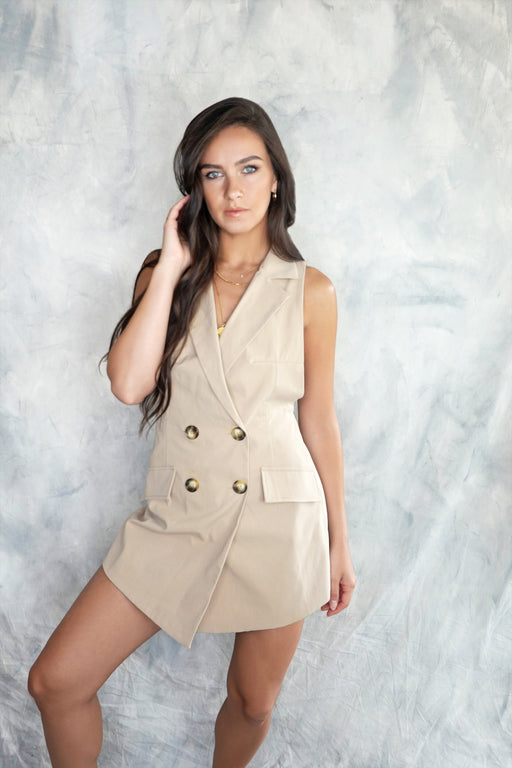 Svana Beige Safari Backless Playsuit