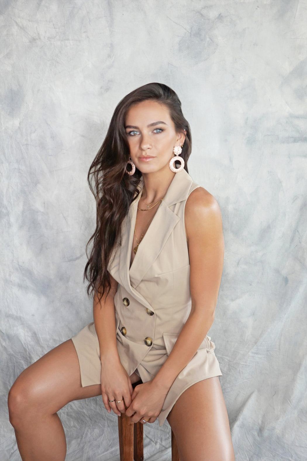 Svana Beige Safari Backless Playsuit - Lavand Stories