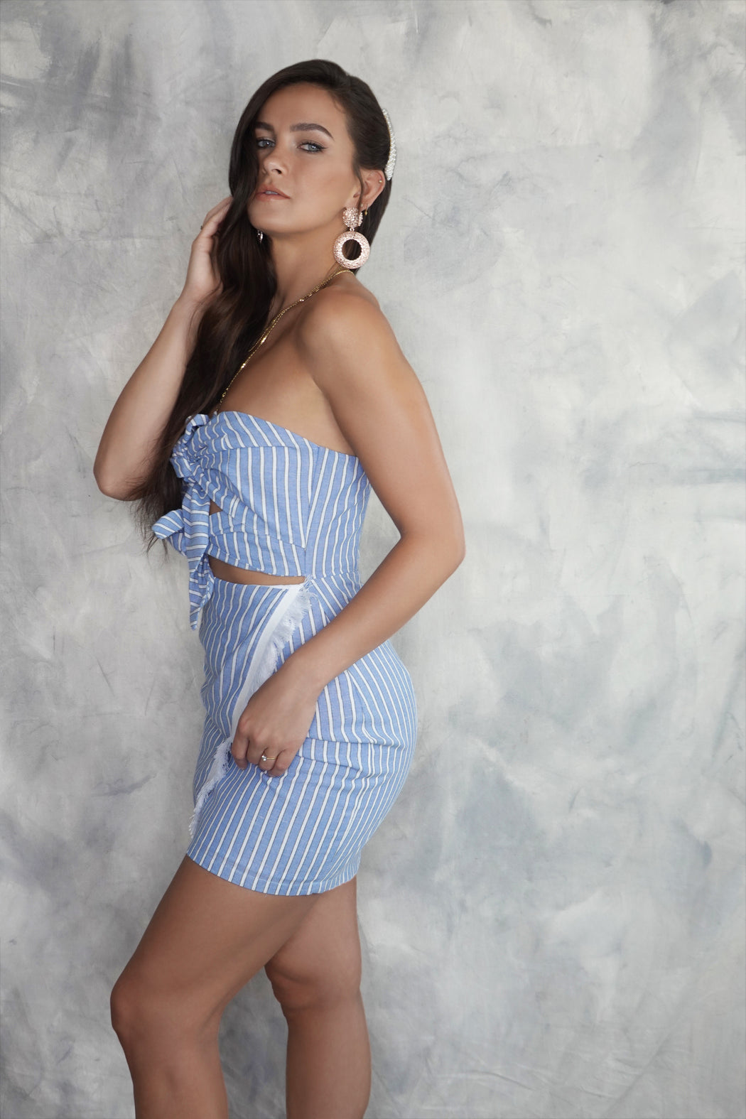 Capri Blue Striped Mini Dress - Lavand Stories