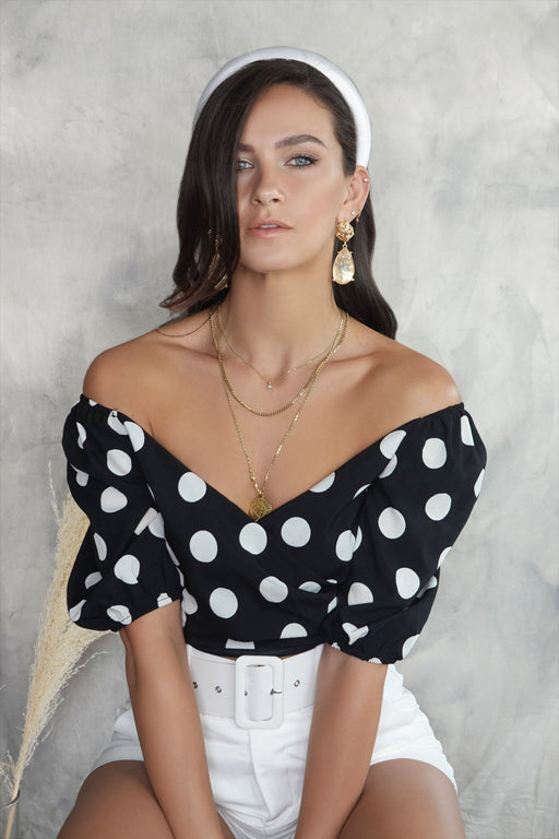 Jeani Black Polka Dot Puff Sleeve Crop Top