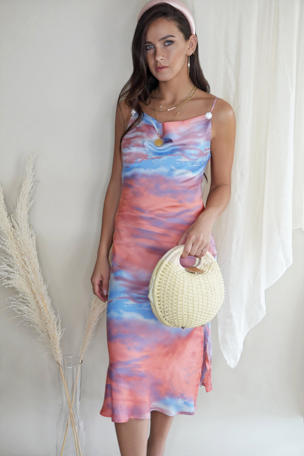 Sylvia Pink Tie Dye Cowl Neck Slip Dress - Lavand Stories