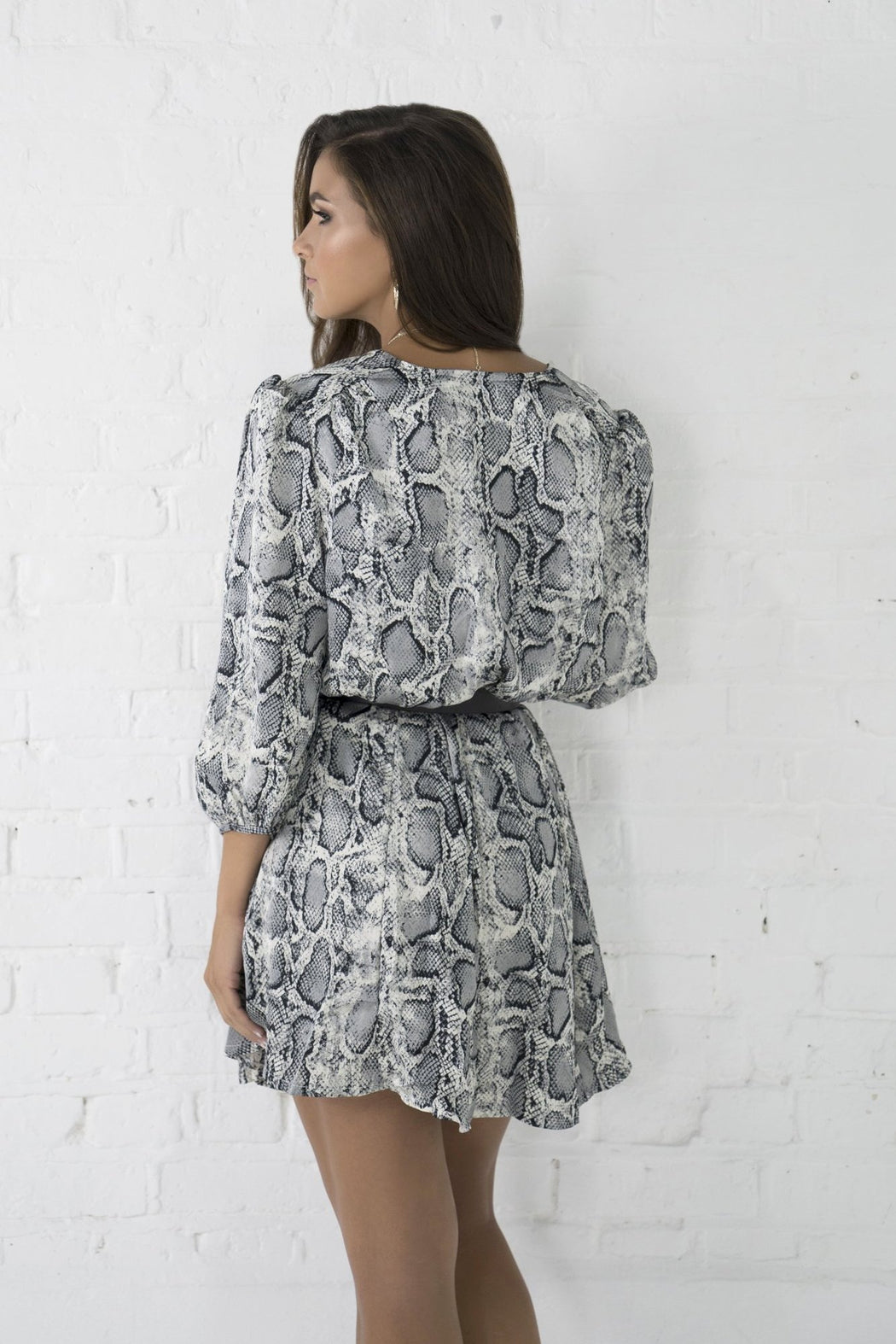 Harla Grey Snake Print Dress