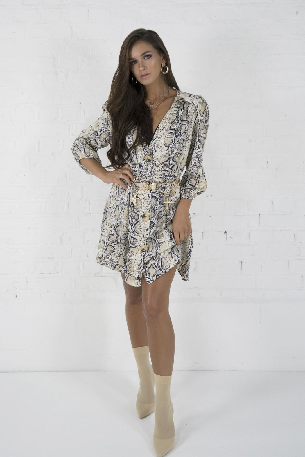 Harla Brown Snake Print Dress