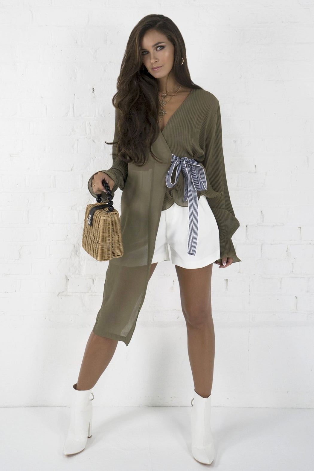 Shirin Khaki Pleated Tie Blouse