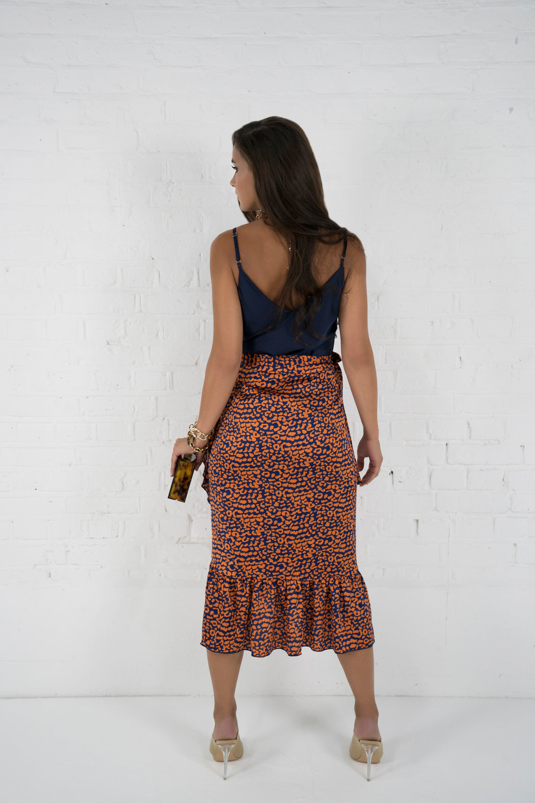 Leia Navy Leopard Print Wrap Skirt - Lavand Stories