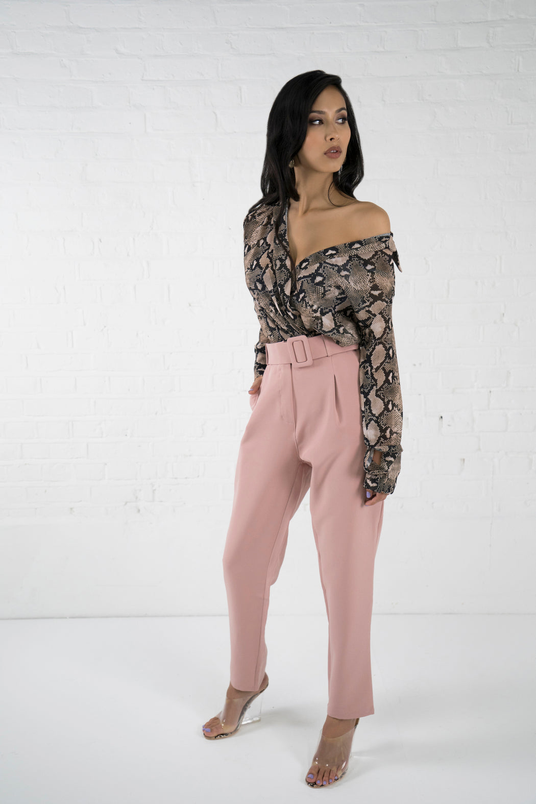 LaLa Dusty Pink High Waisted Trousers - Lavand Stories