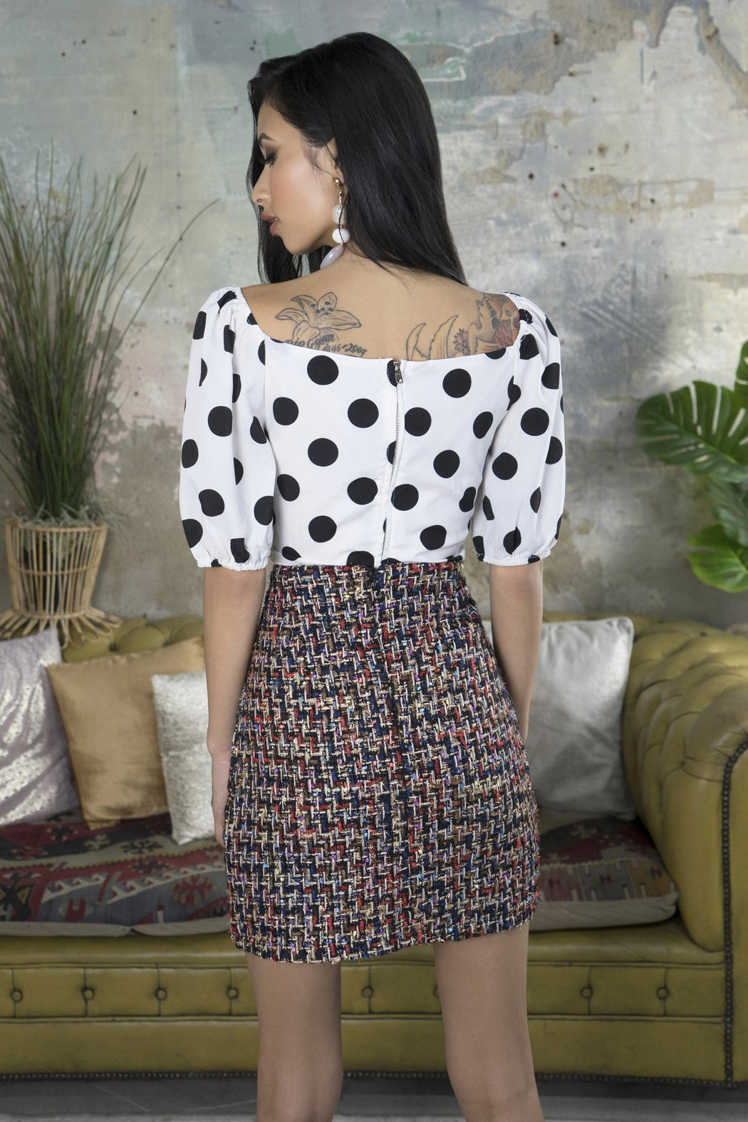 Jeani Polka Dot Puff Sleeve Crop Top - Lavand Stories